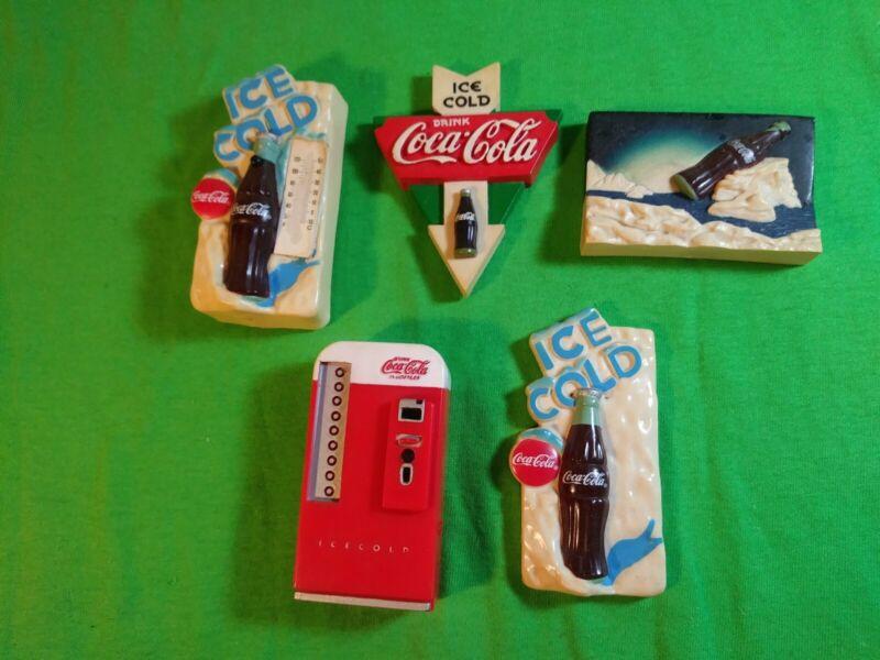Vintage Set of 5 Coca-Cola Magnets 1996-1998