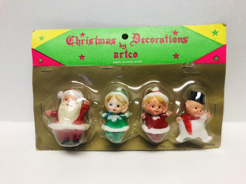 Vintage Christmas Decorations Santa Elves Snowman, by Artco, Hong Kong