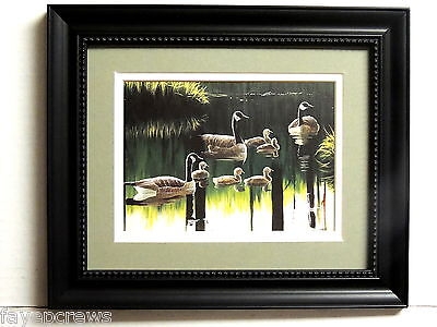 GEESE BABY GEESE PICTURE WATERFOWL DOUBLE MATTED FRAMED  8X10