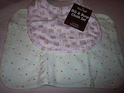 "Baby Bib & Burp Cloth Set, Trend Lab, Green,  10"" x 13"""