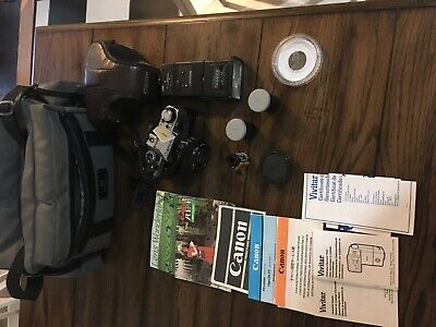 Canon AE-1 Program 35mm Film Camera with 50mm f/1.8 FD Lens, Filter & Eye Cup VG