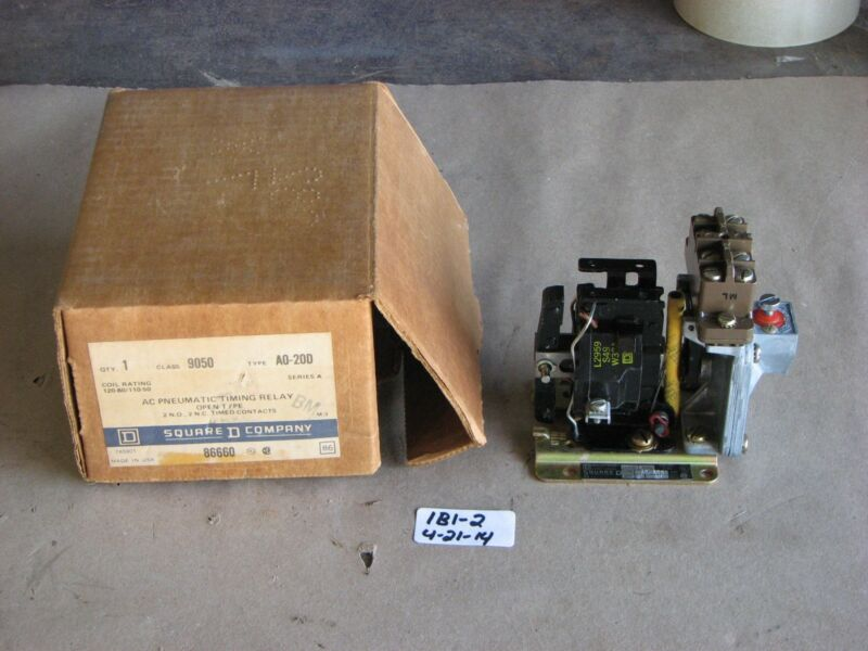 NIB SQUARE D AC PNEUMATIC TIMING RELAY CLASS 9050 TYPE A0-20D SERIES A