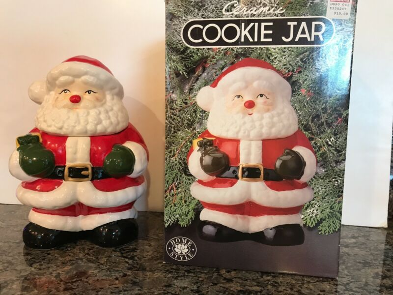 Santa Ceramic Cookie Jar In Box