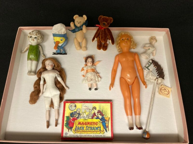 Grouping of Miniature Toys and Dolls, Vintage and Reproduction