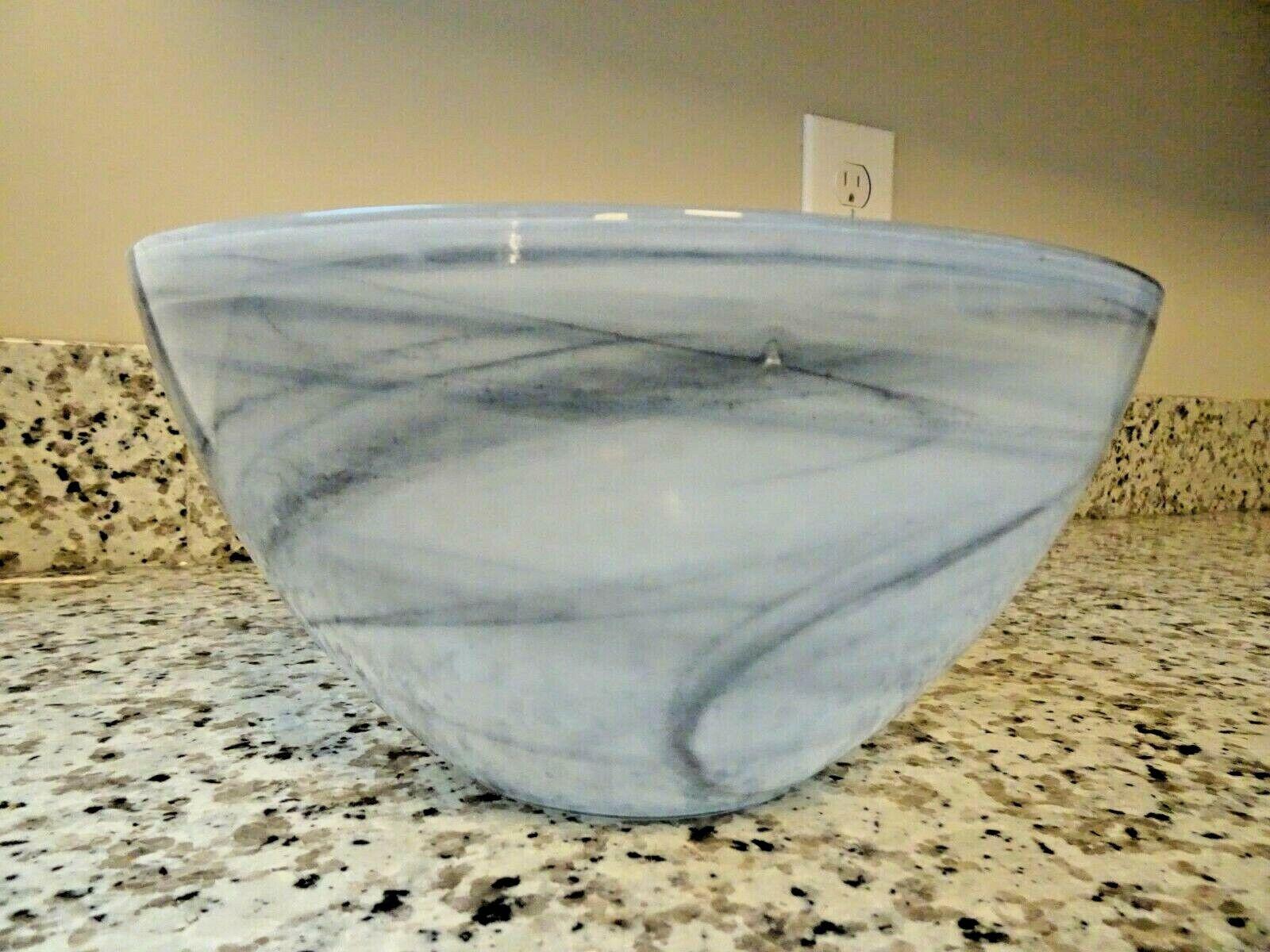 Large Kosta Boda Art Glass Black & White Swirl Cloud BOWL