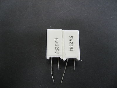 2pcs 22 Ohm 5 Watt Radial Ceramic Cement Power Resistor 5 W 22 Ohm 5w22rj