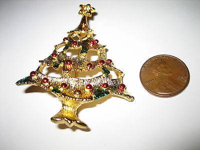 VINTAGE RHINESTONE STAR ENAMEL GOLD TONE CHRISTMAS TREE PIN BROOCH