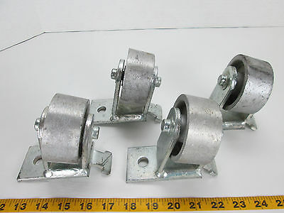Lot Of 4 Heavy Duty Steel Casters W3x1-38 Steel Wheels Fixed Angled Angle T