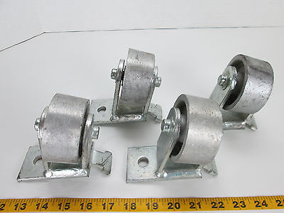 Lot Of 4 Heavy Duty Steel Casters W3x1-38 Steel Wheels Fixed Angled Angle T