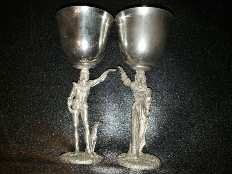 Pr Gallo Maurus Medieval Renaissance Romeo & Juliet Pewter Wedding Goblets