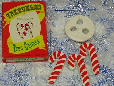 1983 Beachcombers Treenkles Candy Cane Ceramic Tree Chimes Christmas Ornament