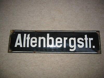 """Altes gewölbtes Straßenschild   Emailleschild  """"Altenbergstr."""" ca. 60er Jahre"""