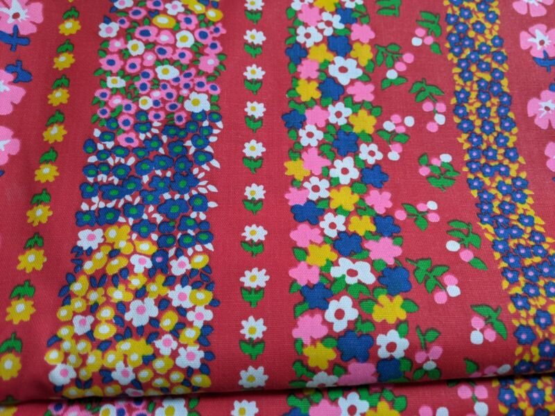 fabric mid century BOLD BRIGHT FLORAL  JOHN WOLF TEXTILES  60