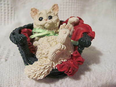 "Christmas Resin Kitty Cat Resting in Basket with Red Blanket 2"" tall 3"" wide"