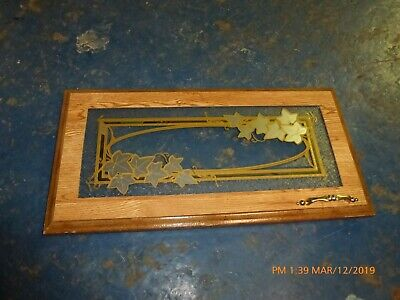 RV Camper Frosted Etched Glass Cabinet Door RH Leaves Gold Tone 23x12
