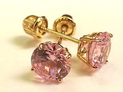 Pink Sapphire Earrings Created Stud Real 14K Yellow Gold 1.00 Ct Round 5mm -