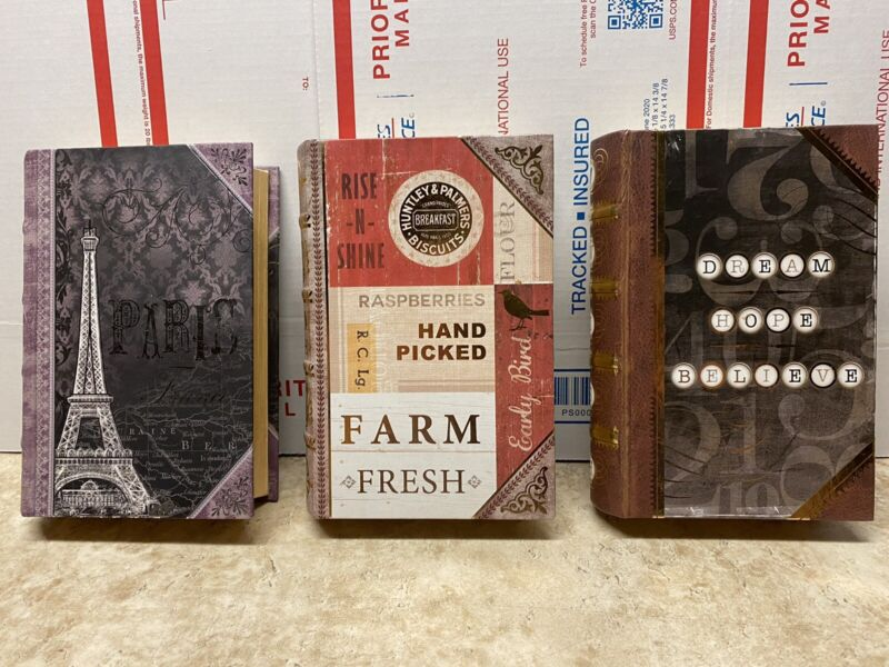 """Punch Studio Book Boxes -Set Of 3 - 6.5"""" X4.5"""""""