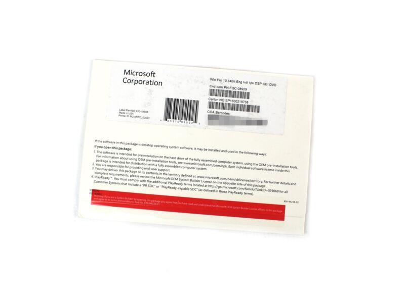NEW (Sealed) Microsoft Windows Pro 10 64-Bit OEI DVD 1pk w/ License Key