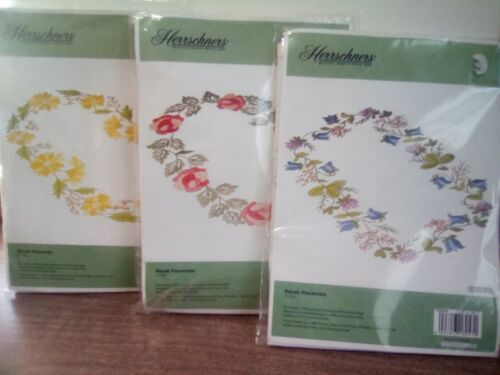 3 Herrschners Dansk Placemats Flower Embroidery Kits Made in Hungary Rose &