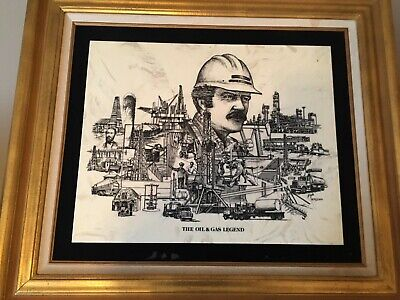 The Oil & Gas Legend etched Marble complete set by David Frederick Gray Complete Oil Painting