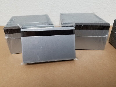 100 Silver UltraCard PVC Cards - HiCo MagStripe 2 Track - CR80 .30 Mil - Sealed