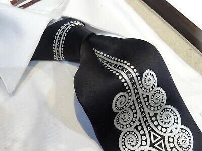 Fabio Silk Tie Necktie black white dot center line swirl art deco nouveau