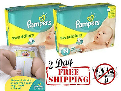 Swaddlers Diapers Size NB Count Pack of 2 Total of 40 Pampers Comfort & Protect