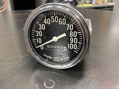 Vintage Stewart Warner 100 MPH Speedometer Gauge SCTA Hot Rod Dash Panel TROG SW