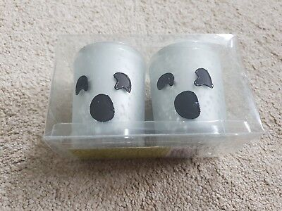SET OF 2 WHITE MOTTLED MIRROR GLASS BLACK GHOST HALLOWEEN VOTIVE CANDLE - Halloween Glass Candle Holders