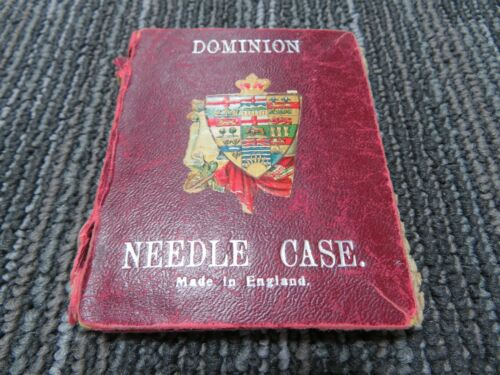 Dominion Needle Case Sewing Book England Coat Of Arms Circa 1800-1900 S529
