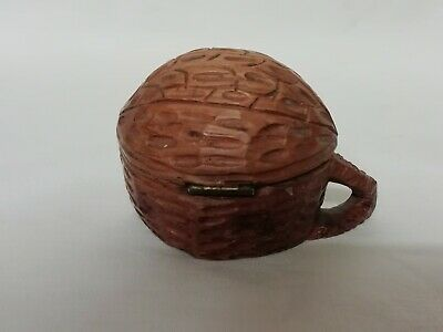 Unusual Old Treen Hand Carved Wooden Hinged Trinket Box Shaped As A Walnut