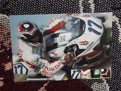RIDER INFO PHOTO CARD - PERE RIBA - WORLD SUPERSPORT CASTROL HONDA CBR600F