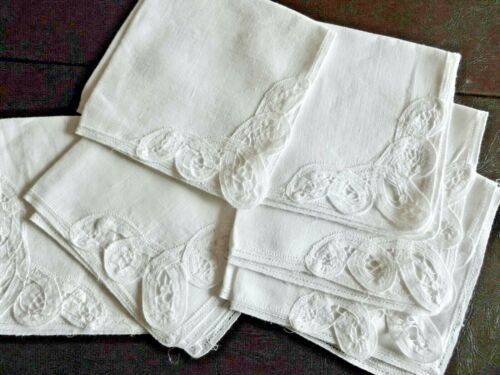 Antique Brussels Lace White Linen Cocktail Napkins