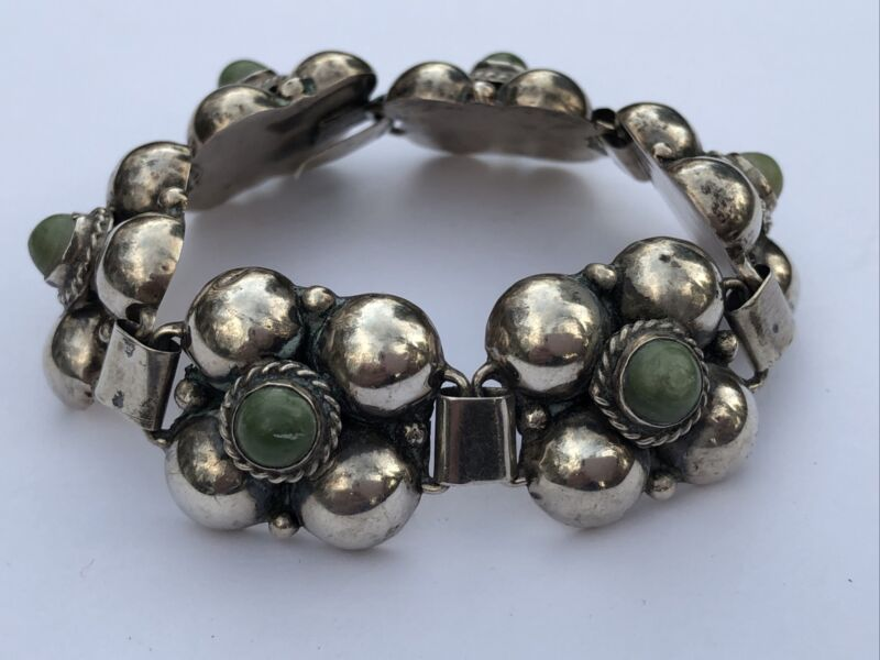 Vintage Mexico Sterling Silver & Turquoise Flower Bracelet 1940-1950's