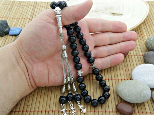 Big Cukur Onyx gemstone 33 bead Islamic Prayer Beads Misbaha Tesbih Tasbi 123016