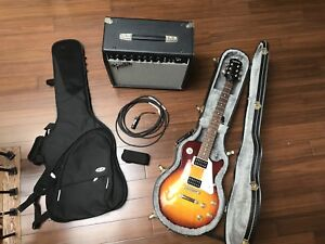 Epiphone Les Paul LP 100 Electric Guitar w/cases, amp and stand