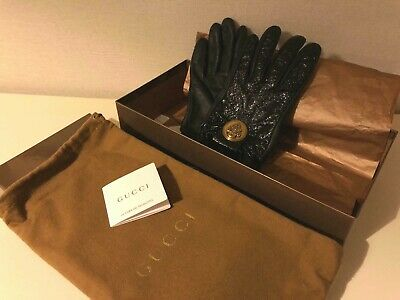 Gucci Vintage Gloves leather black with gold logo with a box and dust bag