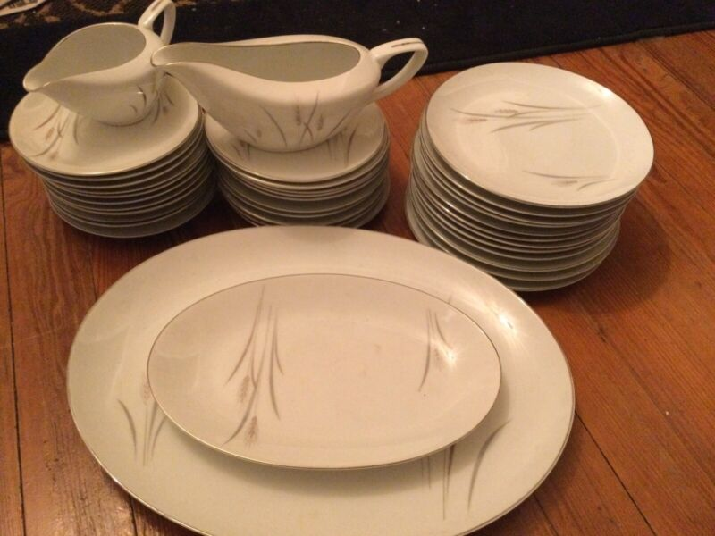 37 piece Platinum Wheat Fine China, made in Japan. Truly Beautiful.