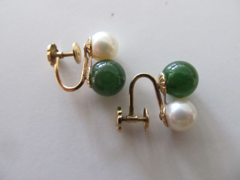 Vintage Hallmarked 14K Jade & Pearl Screw On Earrings 3.7g