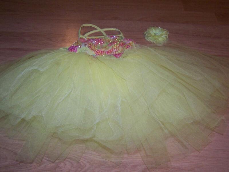 Size IC Weissman Intermediate Child Yellow Pink Full Tutu Skirted Dance Leotard