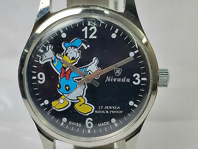 Vintage Nivada Donald Duck Dial Handwinding Movement Mens Wrist Watch VG108
