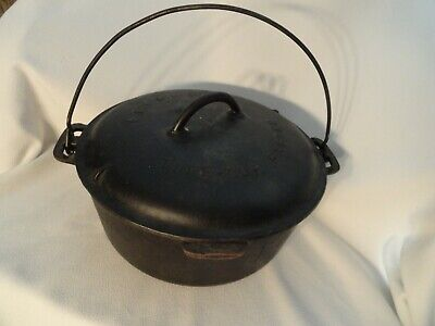 Griswold Cast Iron no.9 Tite-Top Baster ( Dutch Oven) Feb 10 1920 Bail Handle