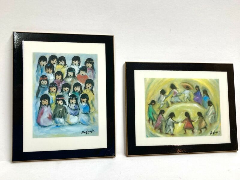 LOT TED DeGRAZIA ART THE CHILDREN'S CHOIR & LOS NINOS LAMINATED PLAQUES SIGNED