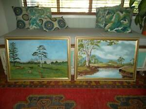 Pair large original landscape paintings by Rosemary Hill