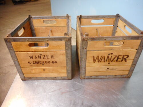 Wanzer Wood and Metal Milk Crates; circa 1960s