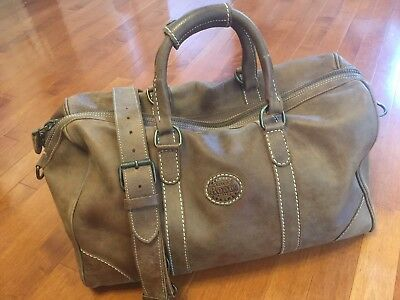 ROOTS CANADA BROWN TRIBE LEATHER TRAVEL BANFF DUFFEL WEEKENDER CARRYON BAG