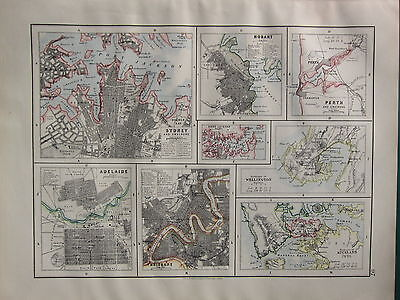 1900 VICTORIAN MAP ~ ADELAIDE BRISBANE HOBART SYDNEY CITY PLAN PERTH WELLINGTON