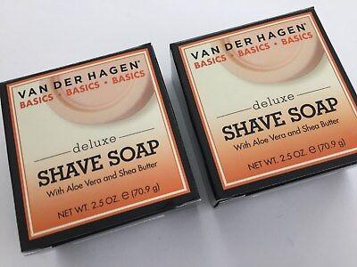 2 Bars of Van Der Hagen Deluxe Shave Soap 2.5oz  VANDERHAGEN
