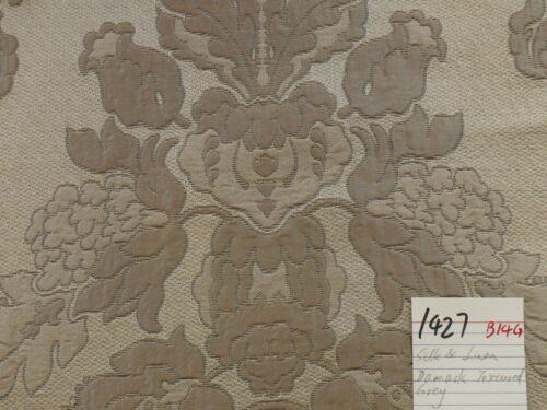 OLD WORLD WEAVER SILK & LINEN ANNA JARQUARD FLORAL DAMASK GRAY 5.5YD #1427