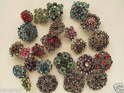 Brooch Lot 24 Mixed Antique Brass Bronze Pin Rhinestone Crystal Wedding Bouquet